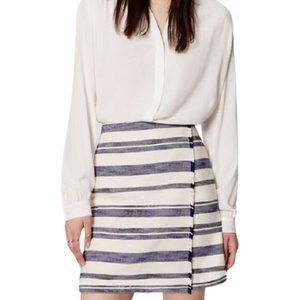 Ann Taylor LOFT Faux Wrap Fringe Skirt in White